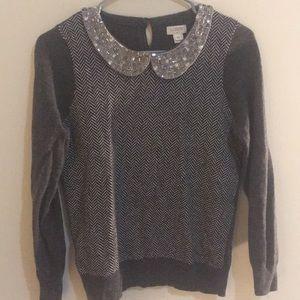 Jeweled collar J Crew wool sweater
